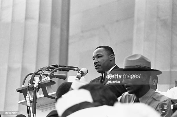 Civil rights leader Martin Luther King Jr speaks at the 1963 Freedom March at the Lincoln Memorial