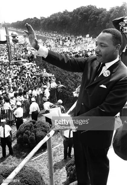 US civil rights leader Martin Luther King Jr waves to supporters in this 28 August 1963 file photo from the Lincoln Memorial on the Mall in...