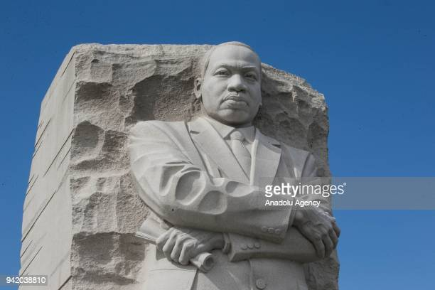 Civil rights leader Martin Luther King's monument is seen during the 50th anniversary of the assassination of Martin Luther King in Washington United...