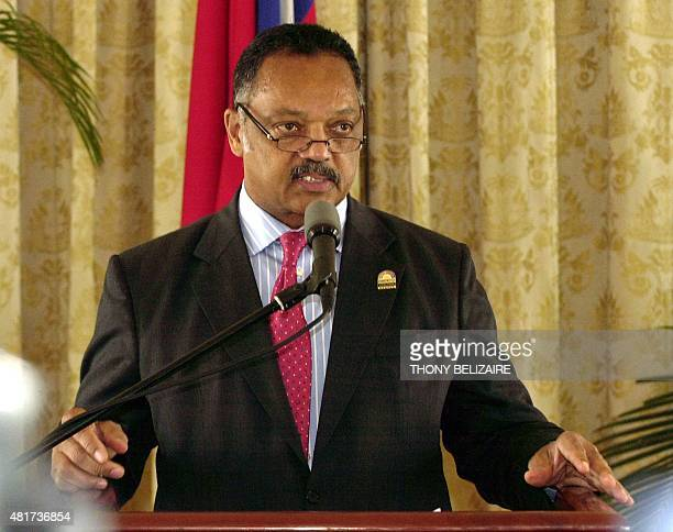 US civil rights leader Rev Jesse Jackson speaks April 29 2008 during a pres conference at the presidential palace in PortauPrince Haiti Jackson is on...