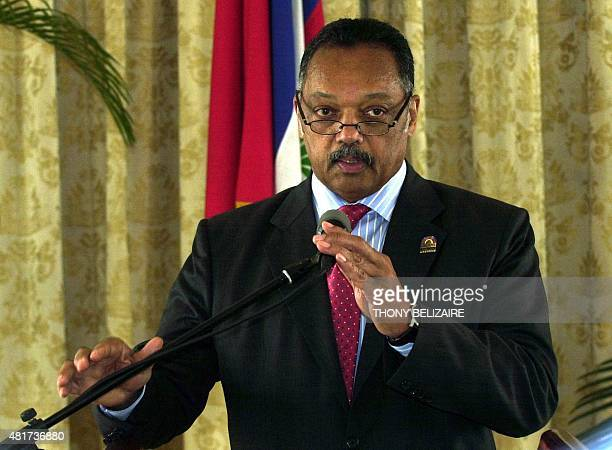 US civil rights leader Rev Jesse Jackson speaks April 29 2008 during a press conference at the presidential palace in PortauPrince Haiti Jackson is...