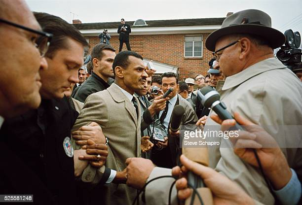 Civil rights leader Reverend C.T. Vivian talks to Director of Public Safety Wilson Baker before march from Selma to Montgomery.