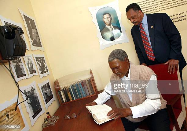 US Civil Rights leader Reverend Jesse Jackson visits the Chief Albert Luthuli museum in Kwadukuza north of Durban on November 20 2010 Former...