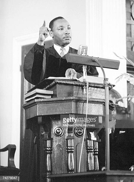 Civil rights leader Reverend Martin Luther King Jr delivers a sermon on May 13 1956 in Montgomery Alabama
