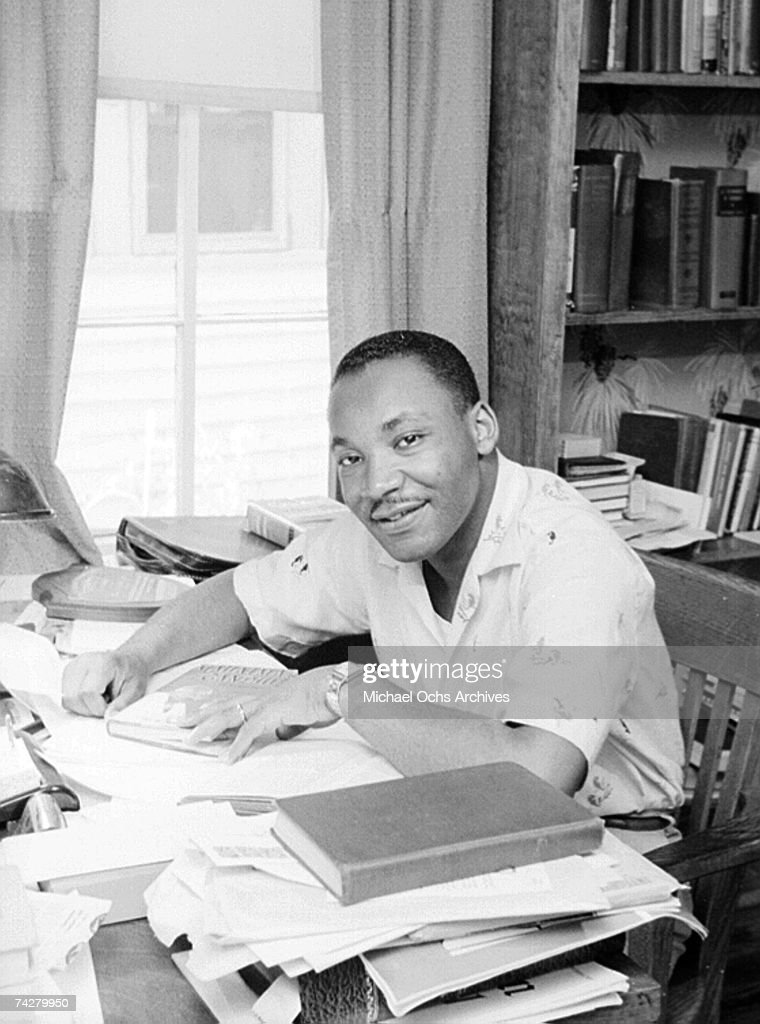 Civil rights leader Reverend Martin Luther King, Jr. relaxes at home in May 1956 in Montgomery, Alabama.