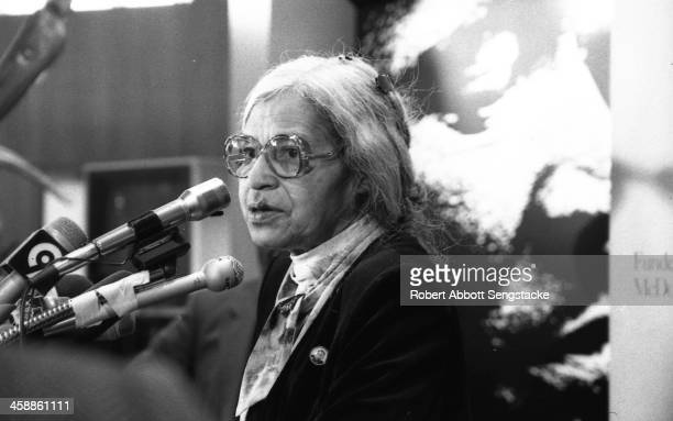Civil rights leader Rosa Parks speaks at the opening of an exhibit of memorabilia from the late Dr Martin Luther King Jr at the Schomburg Center for...