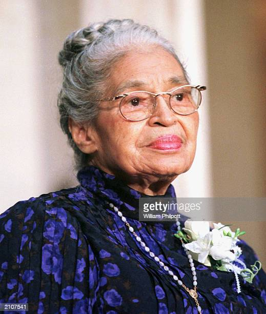 Civil rights leader Rosa Parks waits to receive the Congressional Gold Medal in Statuary Hall in the Capitol Building Washington DC June 14 1999