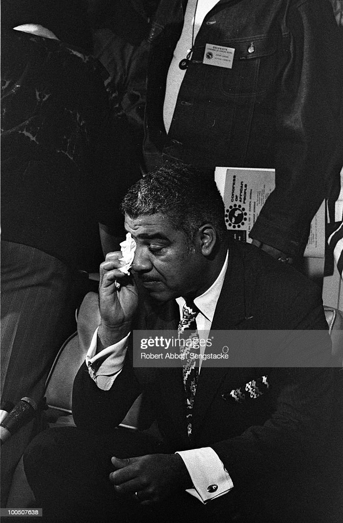 Civil rights leader Whitney Young (1921 - 1971) wipes perspiration off his face while attending the Congress of African Peoples in Atlanta, GA, 1970.