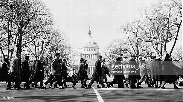Civil rights leaders from all parts of the United States march to protest recent police brutality in Alabama March 12 1965 in Washington