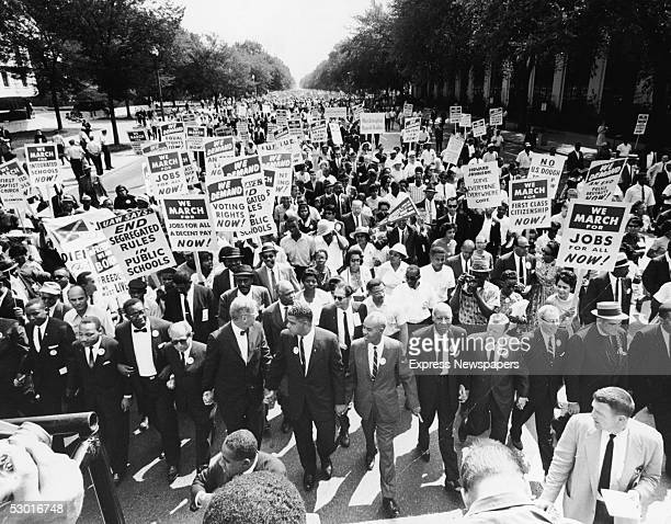 Civil rights Leaders hold hands as they lead a crowd of hundreds of thousands at the March on Washington for Jobs and Freedom Washington DC August 28...