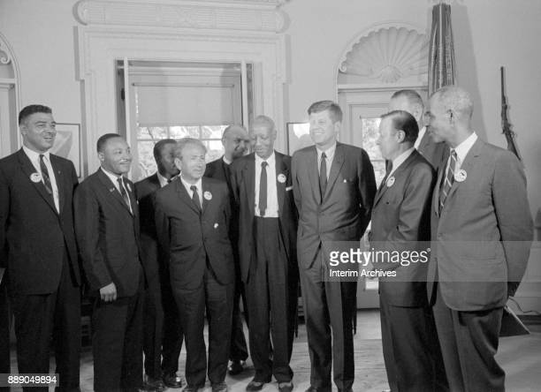 Civil rights leaders meet with President John F Kennedy in the Oval Office of the White House after the March on Washington for Jobs and Freedom...