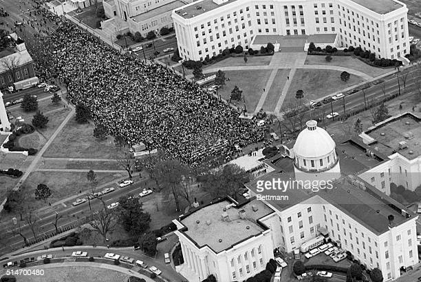 Civil rights marchers arrive at the Alabama State Capitol in Montgomery Alabama after a 50 mile march from Selma to protest race discrimination in...