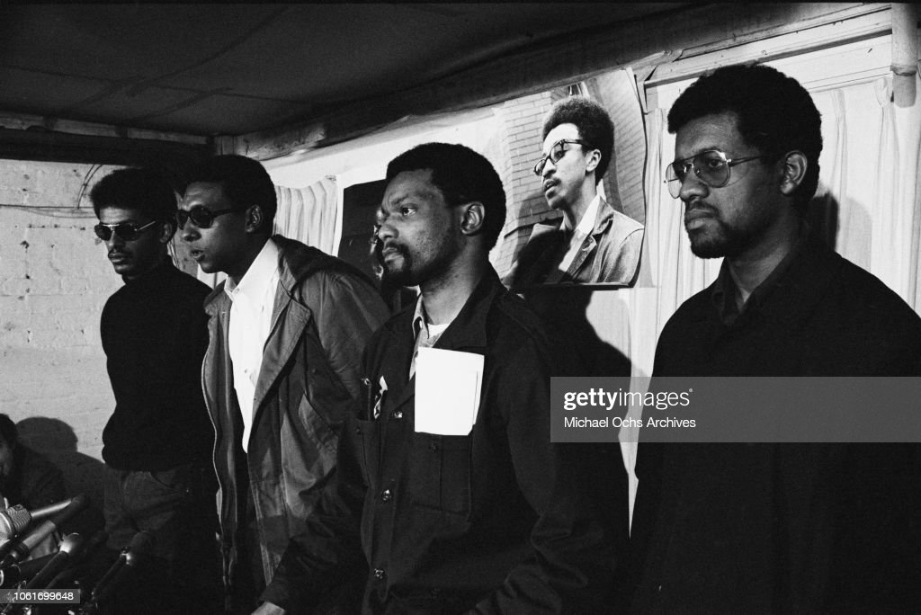 civil rights movement organiser stokely carmichael holds a press