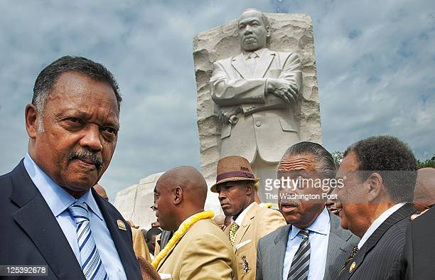 Civil rights pioneers and leaders gather with members of the Alpha Phi Alpha fraternity for a private ceremony to inaugurate the MLK memorial on...