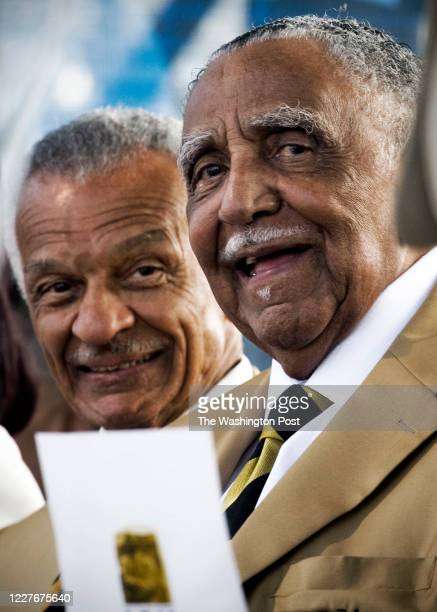 Civil rights pioneers C.T. Vivian, left, and the Rev. Dr. Joseph Lowery join members of the Alpha Phi Alpha fraternity gather for a private ceremony...