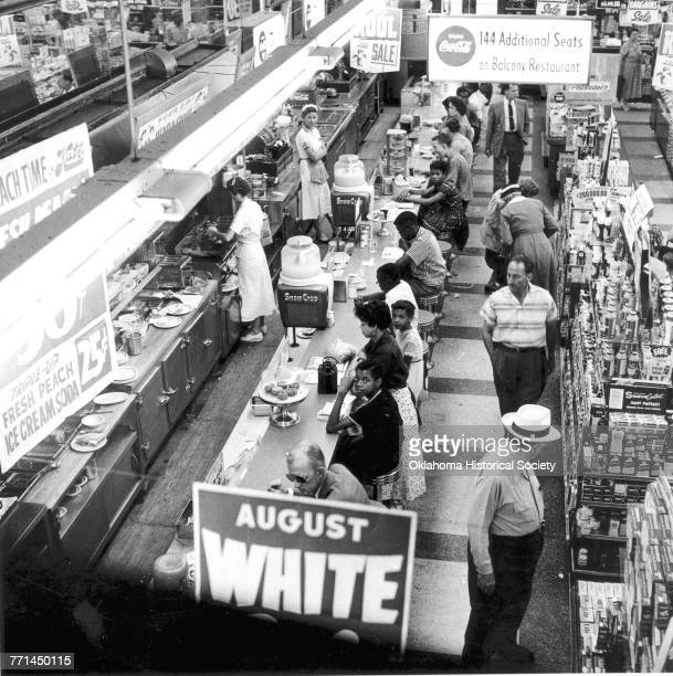 A Civil Rights sitin led by Clara Luper to desegregate the lunch counter at Katz Drug Store at Main and Robinson in downtown Oklahoma City Oklahoma...