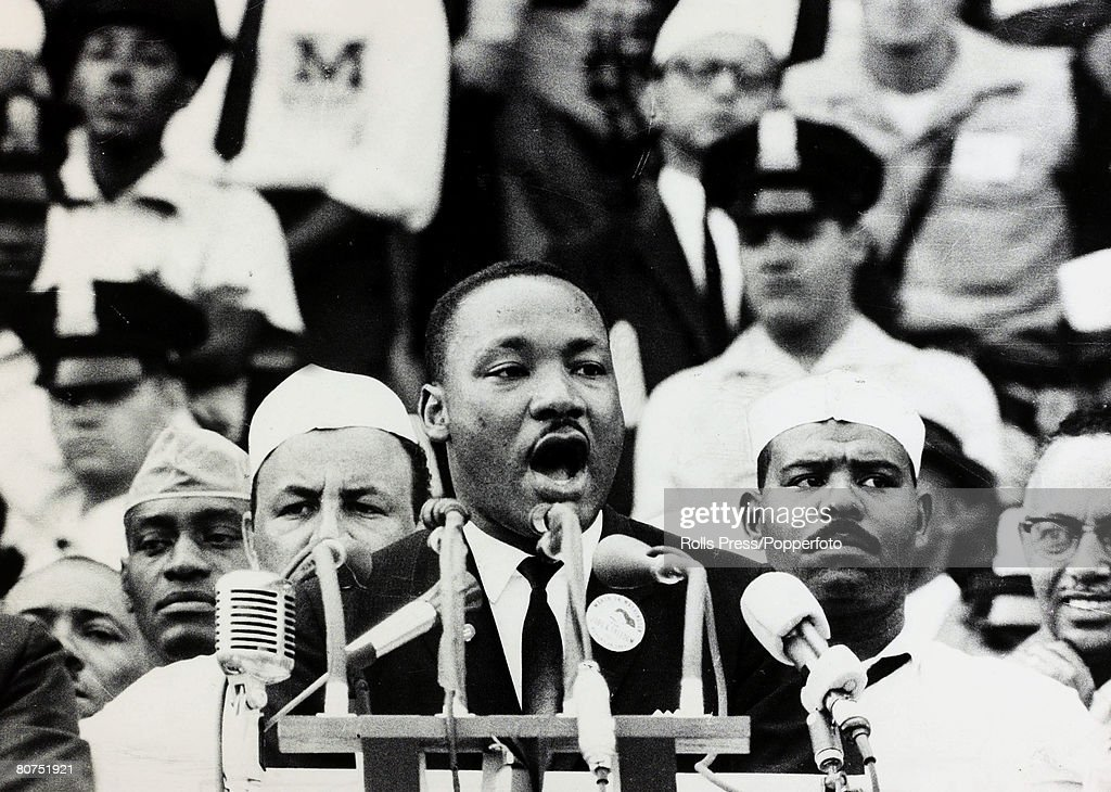 28th August 1963, Black American Civil Rights leader the Rev, Martin Luther King delivers his famous 'I Have A Dream' speech at the Lincoln Memorial in Washington, Martin Luther King (1929-1968) led the fight for equality in the USA, sadly assassinated in Memphis in 1968