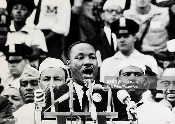 28th August 1963 Black American Civil Rights leader the Rev Martin Luther King delivers his famous I Have A Dream speech at the Lincoln Memorial in...