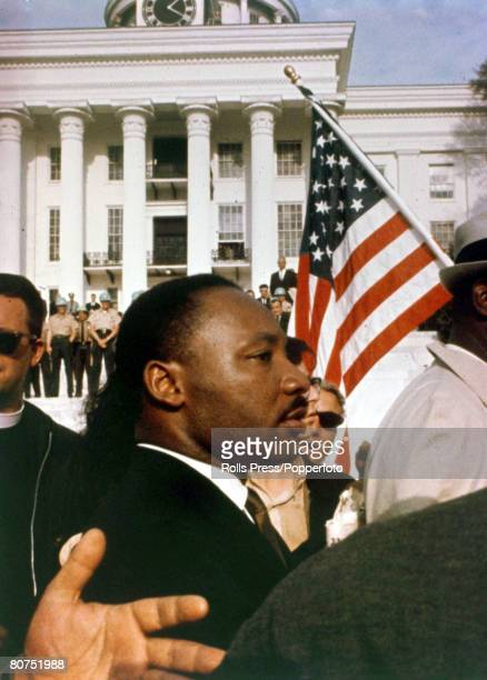 March 1965 American Civil Rights leader Martin Luther King with civil rights marchers having come from Selma to Montgomery to the goal of the State...