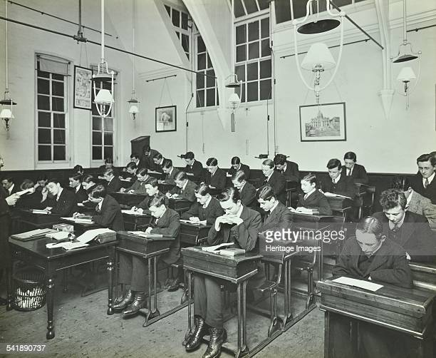 Civil Service class for male students Hammersmith Commercial Institute London 1913 Artist unknown
