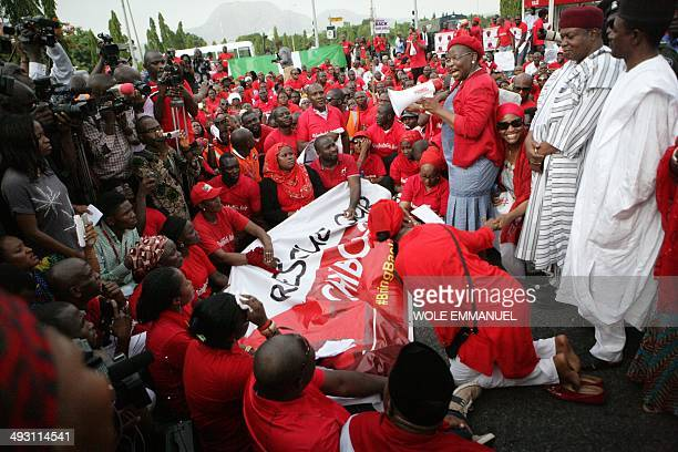 Civil society group leader Oby Ezekwesili speaks to members of civil society groups and organizations taking part in a protest against the abduction...