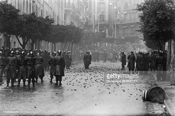 Civil unrest in Algiers, Algeria, December, 1960. French President Charles de Gaulle visited the country in December 1960 to promote a planned...