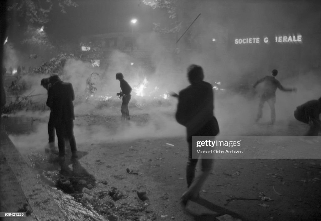 Civil unrest on the streets of Paris on May 27, 1968 in Paris, France.