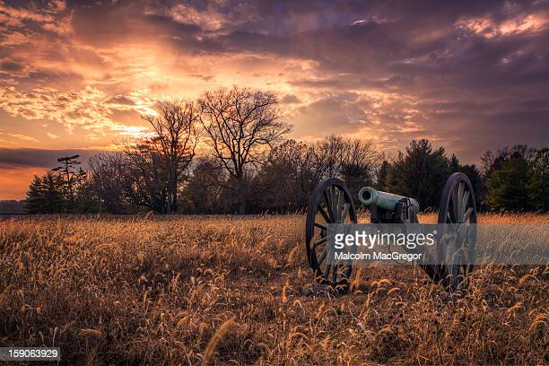 Civil War Cannon at Sunset
