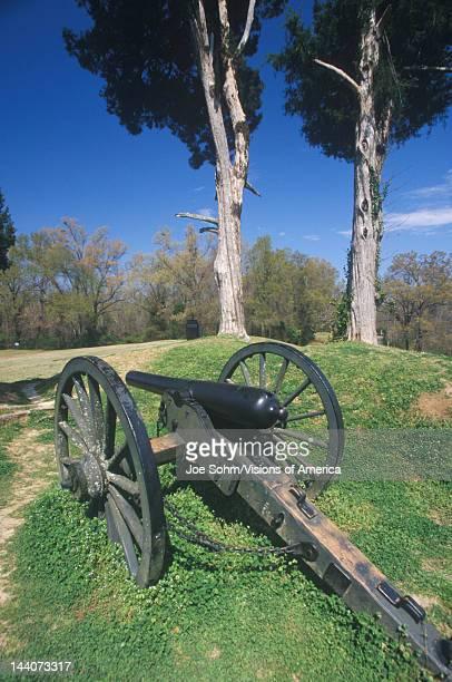 Civil War cannon on green grass at Vicksburg National Military Park MS
