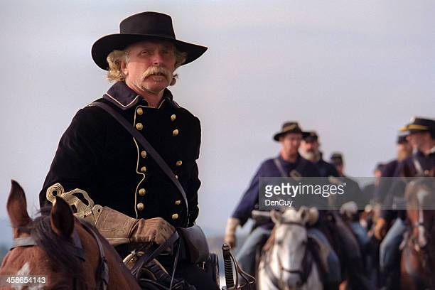 us civil war cavalry led by general custer - cavalry stock pictures, royalty-free photos & images