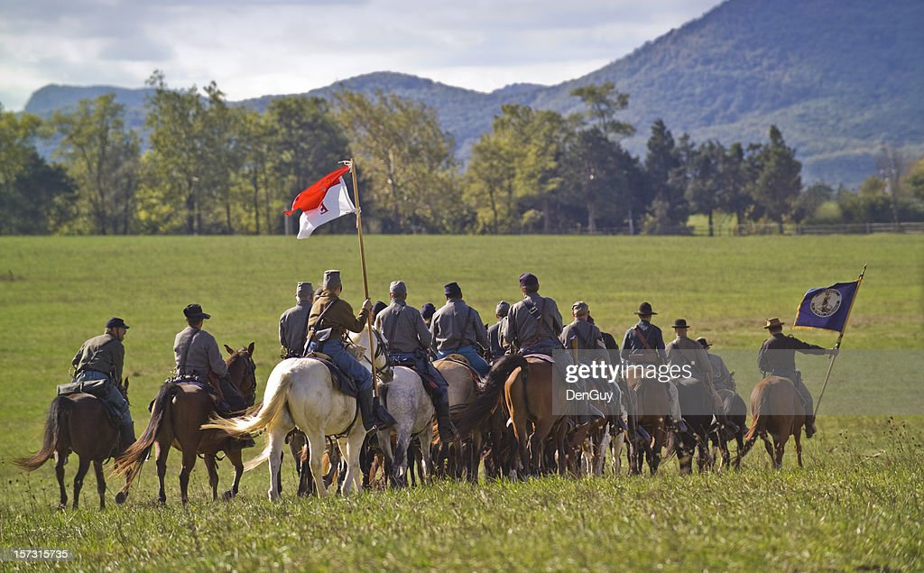 US Civil War Confederate Cavalry Ride Away in Shenandoah Valley : Stock Photo