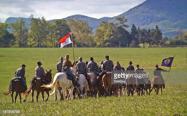us civil war confederate cavalry ride away in shenandoah valley - historical reenactment stock photos and pictures