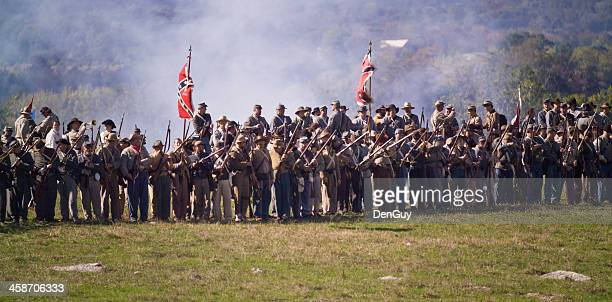 us civil war confederate infantry in shenandoah valley - civil war stock pictures, royalty-free photos & images