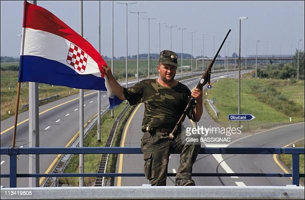 Civil War In Croatia On September1st 1991 Croatian Guard On The Highway From Zagreb To Belgrad In Okucani On September 1st 1991 In Yugoslavia