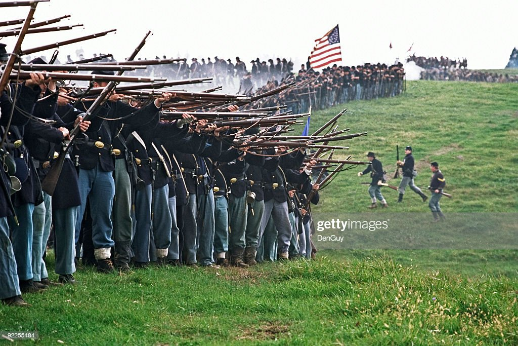 US Civil War Infantry Line of Battle Shenandoah Valley Virginia : Stock Photo