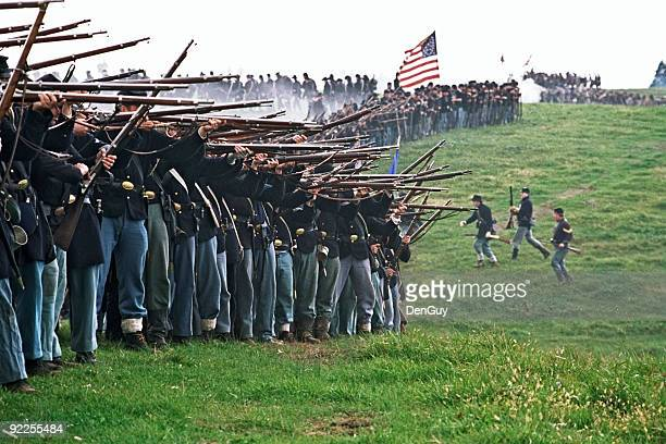 us civil war infantry line of battle shenandoah valley virginia - historical reenactment stock pictures, royalty-free photos & images