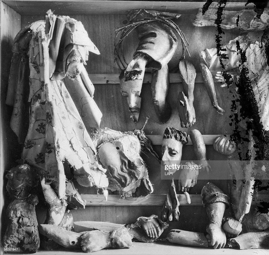 Civil war of Spain (1936-1969). Pieces of ransacked church statues.