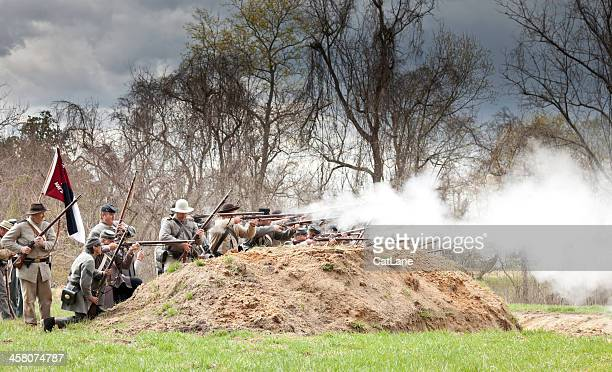 Civil War Reenactors - Firing at the Enemy