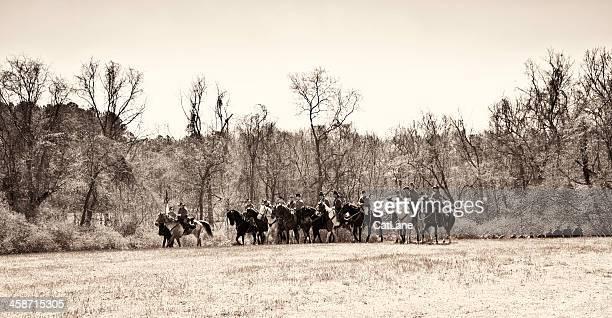 Civil War Reenactors - Soldiers Arriving on Horseback