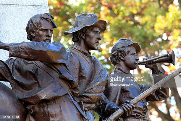 civil war soldier statue gettysburg - bugle stock pictures, royalty-free photos & images