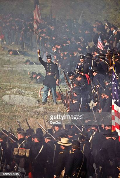 civil war us infantry battlefield in virginia officer leads advance - historical reenactment stock photos and pictures