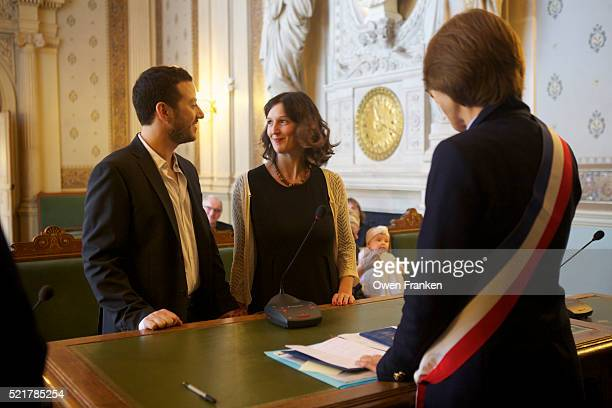 civil wedding in a paris city hall - ceremony stock pictures, royalty-free photos & images