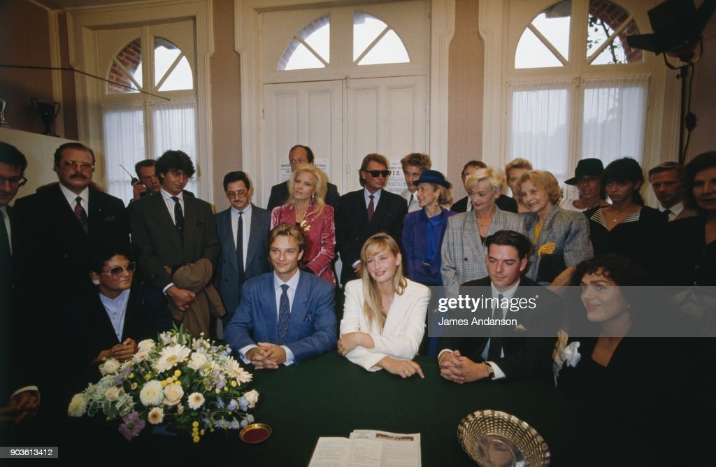 Civil wedding of David Hallyday and Estelle Lefebure at the town hall of Freneuse Sur Risle15th September 1989
