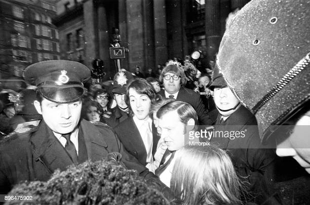 Civil Wedding of Paul McCartney Linda Eastman at Marylebone Register Office London Paul McCartney is centre and holding new bride Linda though she is...