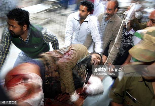 A civilian injured in a terror attack at Dayalachak shifted to Government Medical college on March 28 2014 in Kathua about 80 km from Jammu India In...