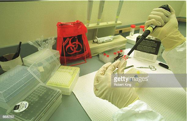 A civilian scientist working in the Broward County crime lab handles processed DNA extractions that were taken from blood samples of convicted...
