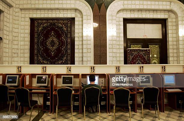 A civilian surfs the Internet in a sumptuous room in a fomer palace of Saddam Hussein that has been coverted into a lounge coffee shop and Internet...