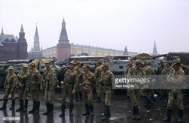 Civilians and military personnel hold a demonstration outside the Kremlin where tanks have formed a roadblock during a 1991 coup attempt The State...