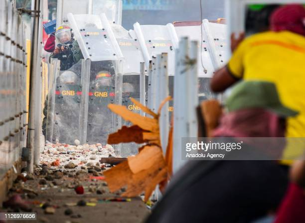 Civilians clash with the Bolivarian National Guard at the Simon Bolivar International Bridge in North of Santander Cucuta Colombia on February 23...
