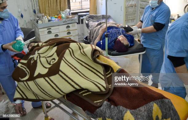 Civilians get treatment at a hospital after Assad Regime forces attacked with suspected chlorine gas to Khan Shaykhun town of Idlib Syria on April 4...